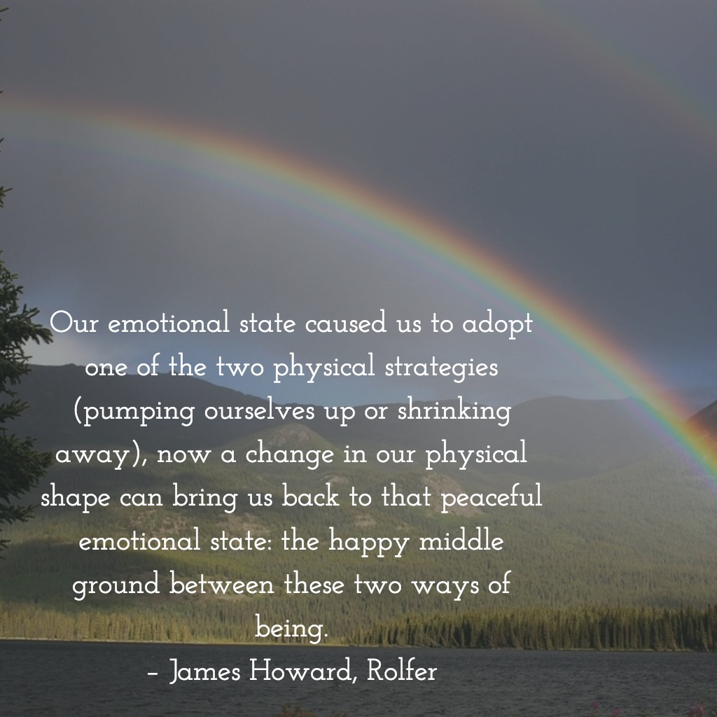 Our emotional state caused us to adopt one of the two physical strategies (pumping ourselves up or shrinking away), now a change in our physical shape can bring us back to that peaceful emotional state: the happy middle ground between these two ways of being. – James Howard, Rolfer