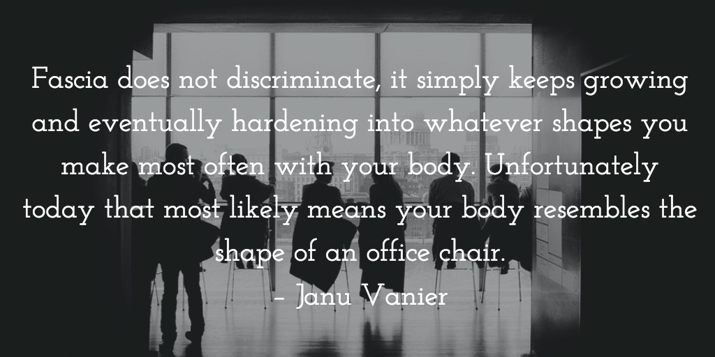 Fascia does not discriminate, it simply keeps growing and eventually hardening into whatever shapes you make most often with your body. Unfortunately today that most likely means your body resembles the shape of an office chair. – Janu Vanier